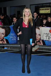 Emily Head wore a black cocktail dress with a pink bust for the 'Iron Lady' UK premiere.