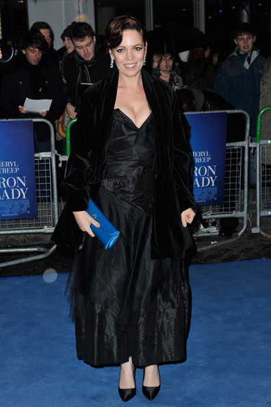 Olivia Colman wore a black evening dress with a deep sweetheart neckline for the premiere of 'The Iron Lady.'