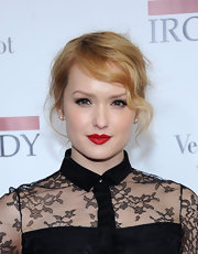 Kaylie DeFer wore precisely applied classic red lipstick at the NYC premiere of 'The Iron Lady.'