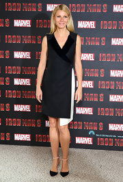 Gwyneth Paltrow chose a cool and modern-looking dress that featured an asymmetrical hem, for her look at the 'Iron Man 3' photo call in London.