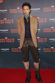 Robert Downey Jr. chose a light brown blazer to top off his hilarious, traditional Lederhosen ensemble.
