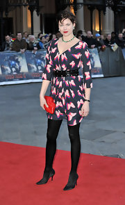 Jasmine Guinness chose a fun and flirty butterfly frock for her red carpet look at 'Iron Man 3.'