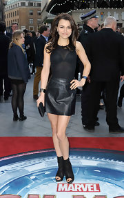 Samantha Barks' leather mini looked stunning when paired with a sheer blouse.