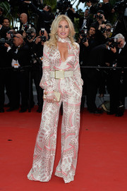 For the 'Irrational Man' premiere in Cannes, Hofit Golan got into a '70s groove with this printed, wide-leg jumpsuit.