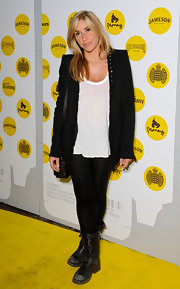 Melanie Blatt wore a scuffed pair of black motorcycle boots to the premiere of 'Irvine Welsh's Ecstasy.'