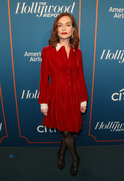 Isabelle Huppert Studded Heels [isabelle huppert,clothing,dress,cocktail dress,electric blue,carpet,long hair,premiere,formal wear,fashion design,flooring,hollywood reporter 5th annual nominees night - arrivals,the hollywood reporter 5th annual nominees night,beverly hills,california,spago]