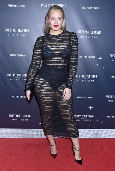 Iskra Lawrence Sheer Dress [clothing,fashion model,dress,shoulder,carpet,fashion,red carpet,premiere,cocktail dress,joint,hailey baldwin - arrivals,prettylittlething x,hailey baldwin,iskra lawrence,catch,west hollywood,california]