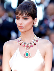 Emily Ratajkowski accessorized with a chunky gemstone statement necklace at the Cannes Film Festival opening gala.