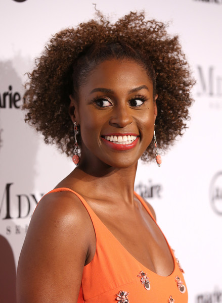 Issa Rae Short Curls [red carpet,hair,hairstyle,ringlet,beauty,eyebrow,jheri curl,smile,black hair,lip,human,issa rae,actor,marie claires image makers awards,hair,hairstyle,color,beauty,eyebrow,west hollywood,issa rae,issa dee,actor,insecure,2018 american black film festival,model,celebrity,black panther,color]