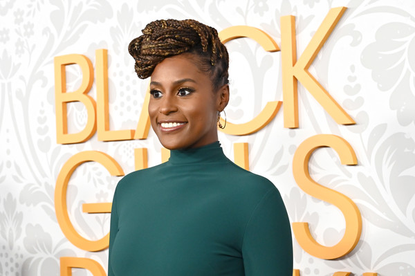Issa Rae Braided Updo [black girls rock 2019,hair,face,hairstyle,head,forehead,smile,font,style,brand,ear,niecy nash,issa rae attends black girls rock 2019,newark,njpac,new jersey.,red carpet]