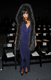 Paz put on the drama in a long fur stole at the J Mendel fashion show in NYC.