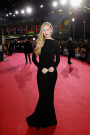 Danika Yarosh looked supremely elegant in a long-sleeve black mermaid gown by Yanina Couture at the Berlin premiere of 'Jack Reacher: Never Go Back.'