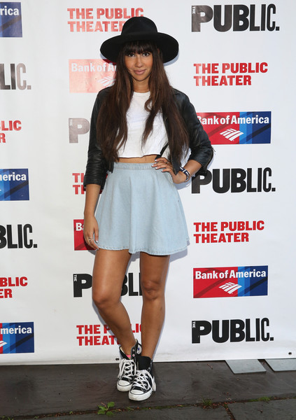 Jackie Cruz Canvas Sneakers [the tempest,clothing,street fashion,footwear,fashion,snapshot,shorts,shoe,leg,headgear,photography,arrivals,jackie cruz,curtain call,public theater,new york city,delacorte theater]