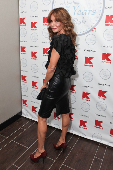Jaclyn Smith Pencil Skirt [clothing,dress,footwear,fashion,little black dress,shoulder,leg,shoe,leather,high heels,clothing line,jaclyn smith,kmart clothing,gansevoort park hotel,new york city,conde nast,kmart,conde nast honors 25th anniversary,reception]