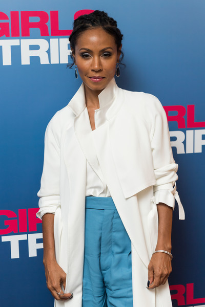 Jada Pinkett Smith Bangle Bracelet [photo,clothing,shoulder,fashion,outerwear,carpet,formal wear,sleeve,flooring,white-collar worker,premiere,jada pinkett smith,ian gavan,screening,soho hotel,london,england,getty images,universal pictures,girls trip special screening]