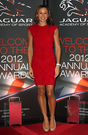 Jessica Ennis' red sheath dress and nude pumps at the Jaguar Academy of Sports Awards were a simple yet stylish pairing.