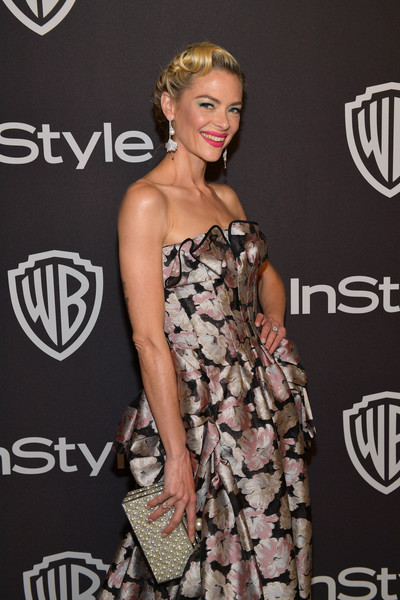 Jaime King Gemstone Inlaid Clutch [clothing,dress,fashion,hairstyle,shoulder,red carpet,carpet,fashion model,premiere,event,jaime king,beverly hills,california,the beverly hilton hotel,instyle,red carpet,warner bros. 76th annual golden globe awards,warner bros. 76th annual golden globe awards post-party]