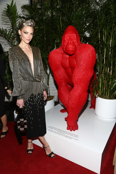 Jaime King Wrap Dress [red,red carpet,carpet,fashion,outerwear,flooring,costume,dress,sculpture,plant,giorgio armani,jaime king,giorgio armani beauty,beauty,chateau marmont,los angeles,california,performances,best performances]