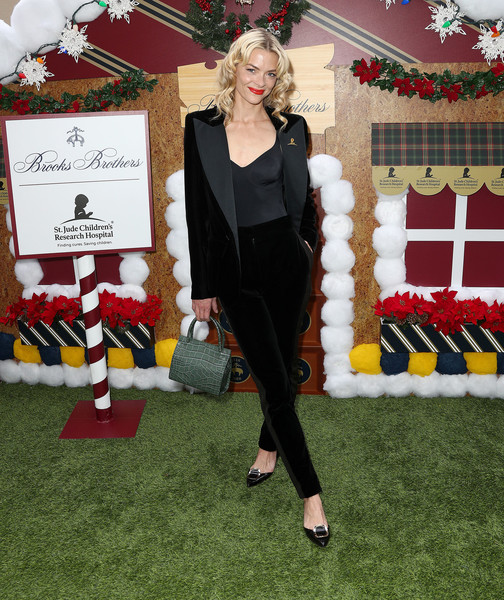 Jaime King Pantsuit [red,fashion,carpet,flooring,formal wear,suit,outerwear,dress,red carpet,event,los angeles to benefit st. jude - arrivals,actress,jaime king,benefit st. jude,los angeles,beverly wilshire four seasons hotel,beverly hills,california,brooks brothers hosts annual holiday celebration,brooks brothers host annual holiday celebration]