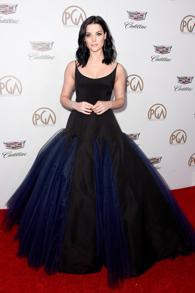 Jaimie Alexander Princess Gown [red carpet,clothing,dress,carpet,gown,shoulder,flooring,a-line,fashion,hairstyle,arrivals,jaimie alexander,the beverly hilton hotel,beverly hills,california,annual producers guild awards]