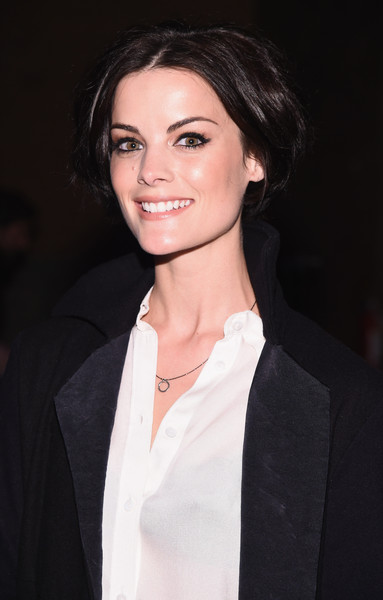Jaimie Alexander Bob [hair,face,eyebrow,hairstyle,lip,beauty,chin,suit,long hair,black hair,greg lauren,jaimie alexander,front\u00e2 row\u00e2,artbeam,new york city,mercedes-benz fashion week,fashion show]