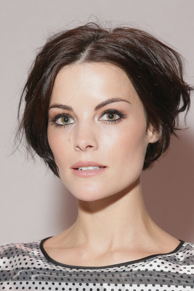 Jaimie Alexander Messy Cut [hair,face,eyebrow,hairstyle,chin,lip,beauty,cheek,forehead,skin,erin fetherston,jaimie alexander,front row,lincoln center,new york city,the salon,mercedes-benz fashion week,fashion show]