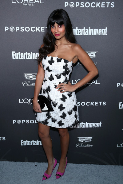 Jameela Jamil Pumps [clothing,dress,shoulder,cocktail dress,strapless dress,fashion model,hairstyle,premiere,black-and-white,joint,nominees,popsockets - arrivals,jameela jamil,popsockets,entertainment weekly celebrates screen actors guild award,chateau marmont,california,los angeles,lor\u00e9al paris,cadillac]