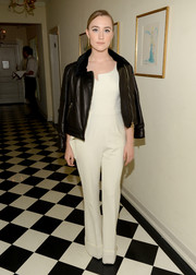Saoirse Ronan added a touch of edge with a black leather jacket.