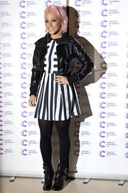 Amelia Lily opted for this classic black bomber jacket to pair over her nautical-style dress for a cool mix of styles.