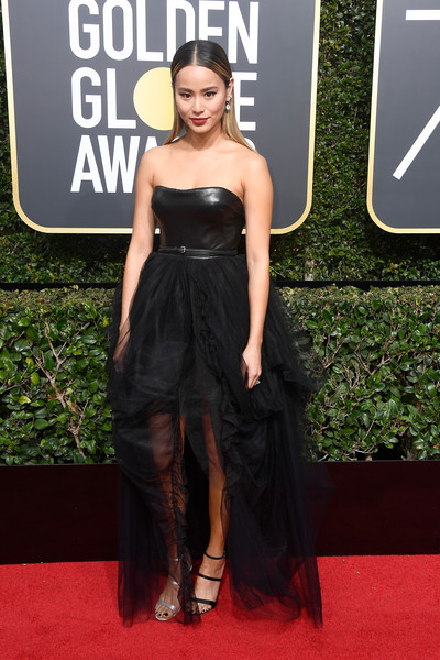 Jamie Chung Strapless Dress [flooring,carpet,red carpet,fashion model,little black dress,dress,gown,girl,long hair,cocktail dress,arrivals,jamie chung,beverly hills,california,the beverly hilton hotel,golden globe awards,the 75th annual golden globe awards]