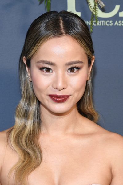 Jamie Chung Long Wavy Cut [hair,face,eyebrow,hairstyle,chin,lip,forehead,blond,skin,beauty,winter tca tour - fox - arrivals,jamie chung,the fig house,los angeles,california,fox winter tca]