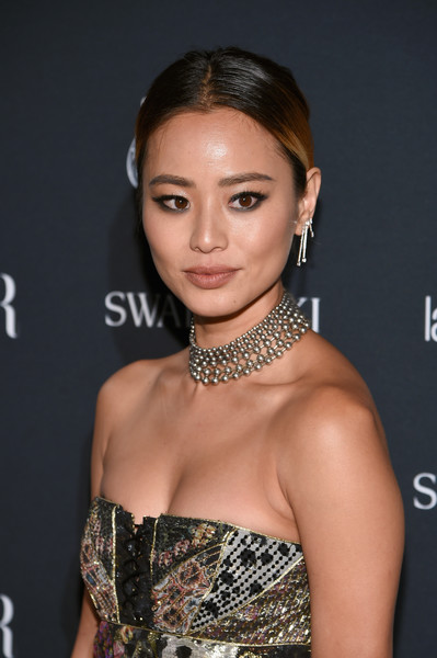 Jamie Chung Silver Statement Necklace [hair,hairstyle,eyebrow,beauty,chin,lip,shoulder,fashion model,dress,eyelash,carine roitfeld,stella artois,laura mercier,icons,swarovski - red carpet,harpers bazaar celebrates,plaza hotel,infor,fujifilm,harpers bazaar celebration]