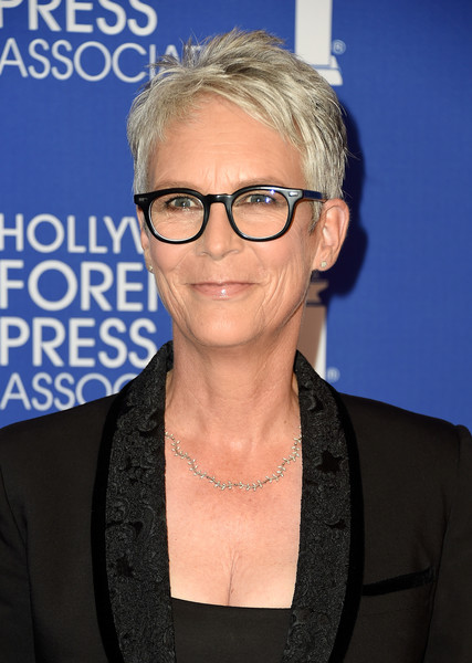 Jamie Lee Curtis Pixie [hair,eyewear,glasses,hairstyle,chin,blond,vision care,electric blue,premiere,official,arrivals,jamie lee curtis,beverly hills,california,beverly wilshire four seasons hotel,hollywood foreign press association,grants banquet,hollywood foreign press associations grants banquet]