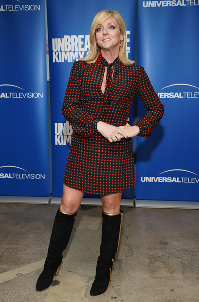 Jane Krakowski Print Dress [clothing,footwear,joint,knee,fashion,electric blue,riding boot,human leg,boot,thigh,unbreakable kimmy schmidt,jane krakowski,fyc @ ucb,panel,california,los angeles,ucb sunset theater,universal television,fyc]