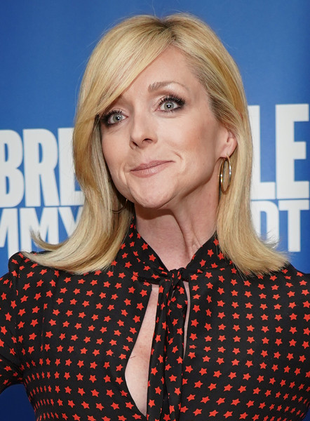 Jane Krakowski Flip [hair,blond,hairstyle,face,chin,layered hair,long hair,hair coloring,brown hair,surfer hair,unbreakable kimmy schmidt,jane krakowski,fyc @ ucb,panel,california,los angeles,ucb sunset theater,universal television,fyc]