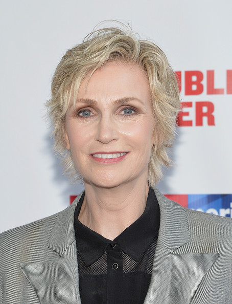 Jane Lynch Layered Razor Cut [one thrilling combination,2014 gala presents,hair,face,hairstyle,blond,eyebrow,chin,layered hair,lip,forehead,premiere,jane lynch,arrivals,public theater,united states,new york,gala]