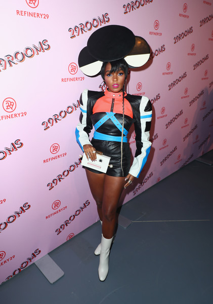 Janelle Monae Box Clutch [photo,clothing,pink,costume,fashion,girl,uniform,fun,janelle monae,caption,los angeles,refinery29 29rooms,29rooms,row dtla,refinery29,getty images,turn it into art opening night party]