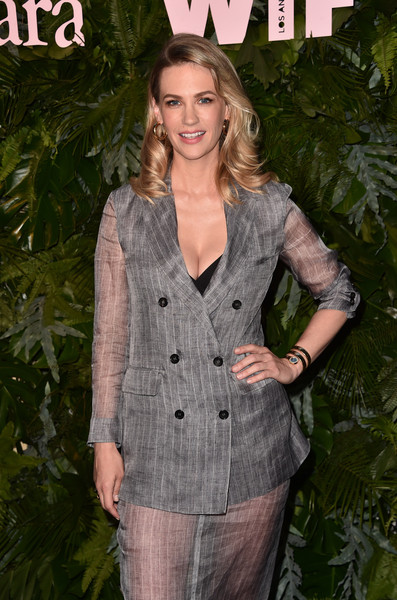 January Jones Gold Bracelet Watch [max mara wif face of the future,january jones,clothing,fashion,outerwear,suit,pantsuit,formal wear,long hair,jacket,blazer,sleeve,california,los angeles,chateau marmont,arrivals]