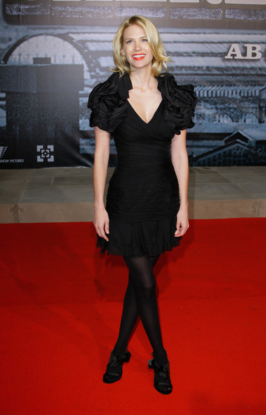 January Jones Evening Sandals [sherlock holmes,clothing,dress,carpet,fashion model,cocktail dress,little black dress,red carpet,fashion,premiere,flooring,january jones,german,cinestar,berlin,premiere]