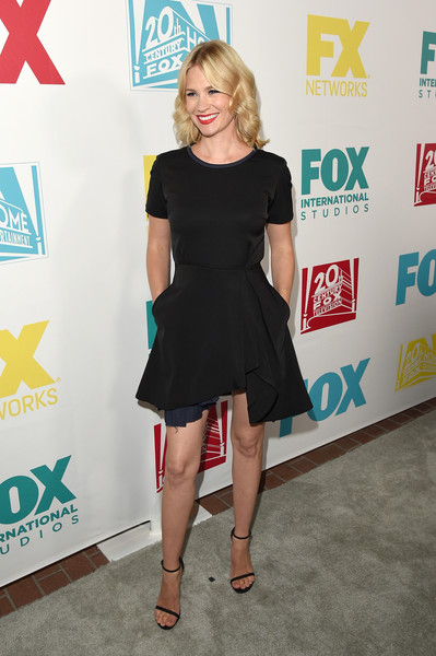 January Jones Strappy Sandals [clothing,dress,cocktail dress,little black dress,shoulder,fashion,hairstyle,carpet,footwear,premiere,arrivals,january jones,san diego,california,andaz hotel,20th century fox party,party,comic-con international 2015]