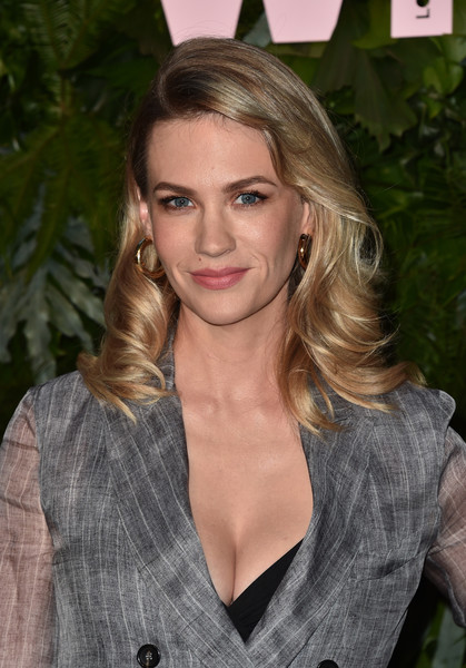 January Jones Gold Hoops [max mara wif face of the future,january jones,hair,face,blond,hairstyle,beauty,eyebrow,lip,long hair,brown hair,fashion,california,los angeles,chateau marmont,arrivals]