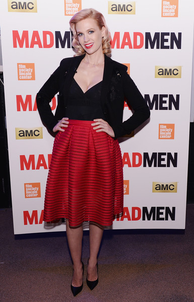 January Jones Blazer [mad men,clothing,dress,red,premiere,cocktail dress,footwear,carpet,leg,event,waist,january jones,mad men special screening,new york city,the film society of lincoln center,screening]