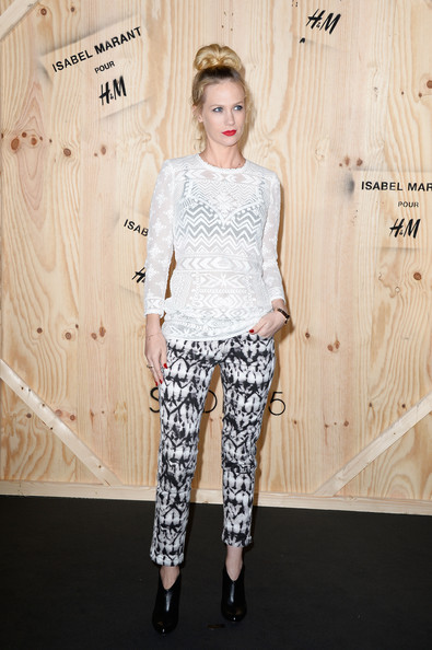 January Jones Print Pants [clothing,white,fashion,hairstyle,fashion model,shoulder,t-shirt,trousers,leggings,footwear,isabel marant,january jones,photo call,tennis club de paris,france,h m,photocall]