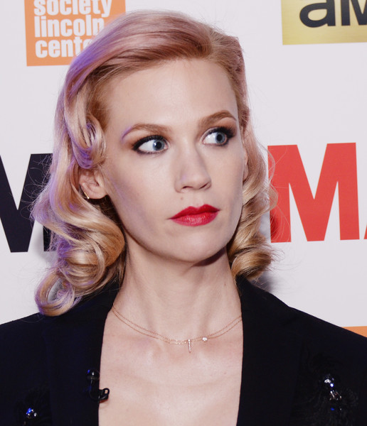 January Jones Diamond Pendant [mad men,hair,face,lip,hairstyle,eyebrow,beauty,chin,blond,skin,cheek,january jones,mad men special screening,new york city,the film society of lincoln center,screening]