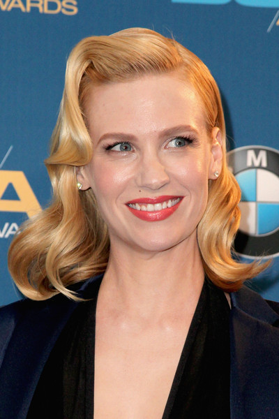 January Jones Medium Wavy Cut [january jones,hair,face,blond,hairstyle,eyebrow,chin,skin,lip,forehead,smile,directors guild of america awards,room,press room,century city,california,hyatt regency century plaza]