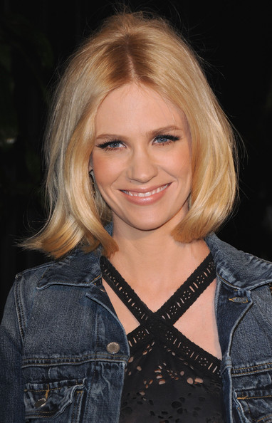 January Jones Mid-Length Bob [hair,blond,face,hairstyle,eyebrow,layered hair,beauty,chin,long hair,hair coloring,actresses,january jones,california,los angeles,madeo restaurant,chanel,celebrating fashion film - arrivals,charles finch pre-oscar,dinner]