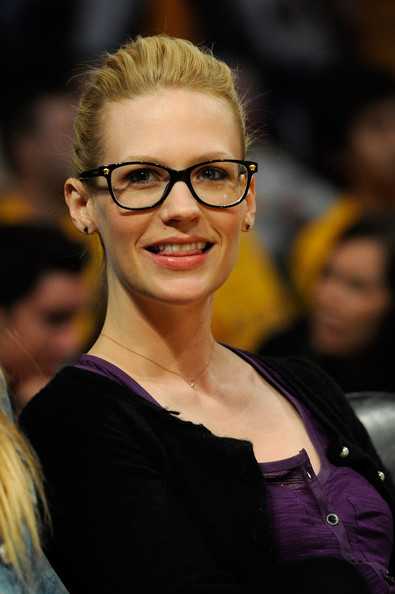 January Jones Classic Bun [photograph,hair,eyewear,glasses,face,hairstyle,beauty,eyebrow,smile,blond,yellow,game one,january jones,user,user,note,los angeles lakers,dallas mavericks,western conference,semifinals]