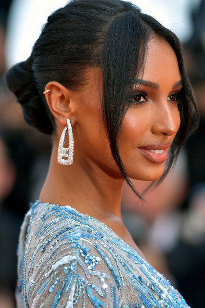 Jasmine Tookes Dangling Diamond Earrings [the traitor,hair,hairstyle,eyebrow,beauty,black hair,chin,skin,lip,ear,long hair,jasmine tookes,screening,cannes,france,red carpet,the 72nd annual cannes film festival]