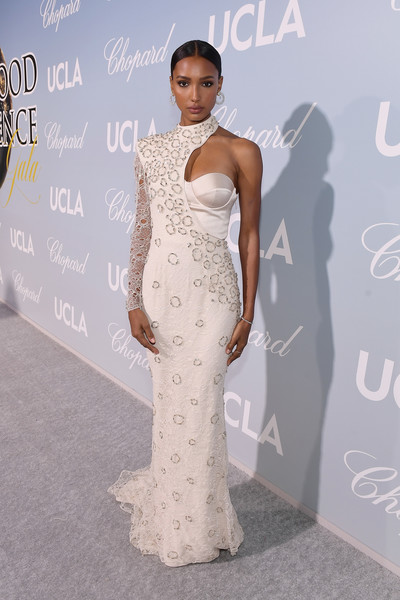 Jasmine Tookes Beaded Dress [dress,clothing,gown,shoulder,fashion model,fashion,hairstyle,carpet,beauty,haute couture,barbra streisand,gisele bundchen,jasmine tookes,2019 hollywood for science gala,2019 hollywood for science gala,california,beverly hills,ucla ioes]