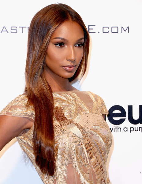 Jasmine Tookes Long Straight Cut [hair,hairstyle,hair coloring,brown hair,long hair,eyebrow,blond,beauty,chin,layered hair,arrivals,jasmine tookes,west hollywood park,california,the city,elton john aids foundation,oscar viewing party,academy awards viewing party]